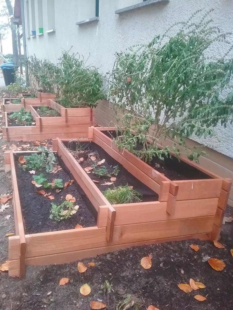 Drei neu angelegte Beete im Kitagarten nach der Gartenaktion in der Kita Schwielowsee. Steppke e.V.