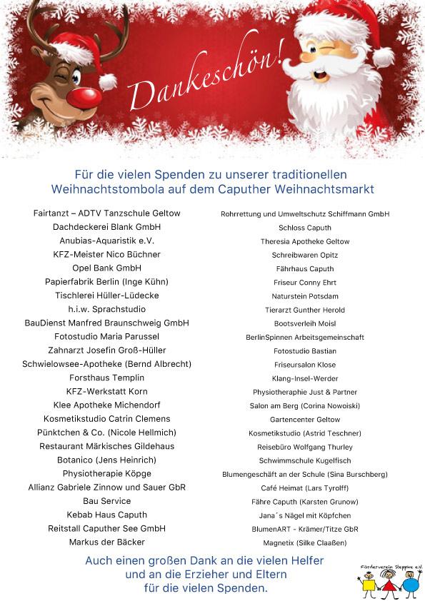 Spendenliste der Caputher Unternehmen für die Steppke Tombola auf dem Caputher Weihnachtsmarkt 2017